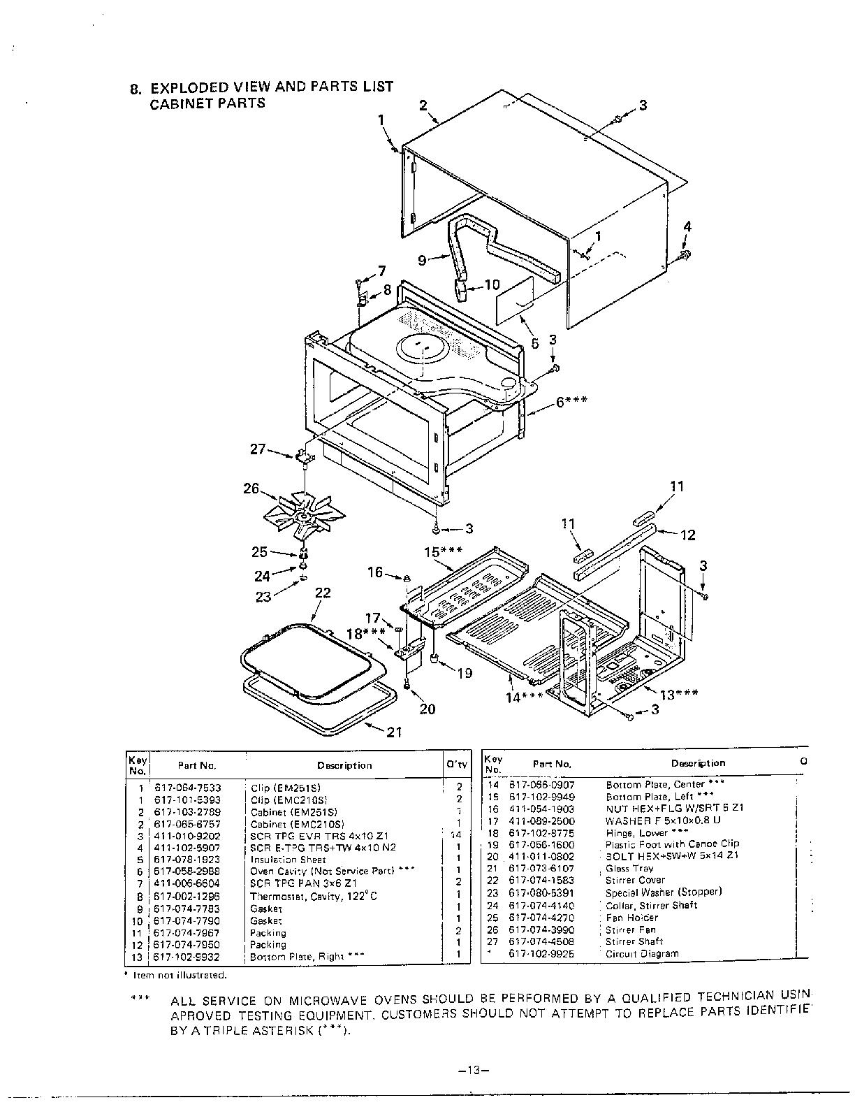 Sanyo model EMC211S countertop microwave genuine parts