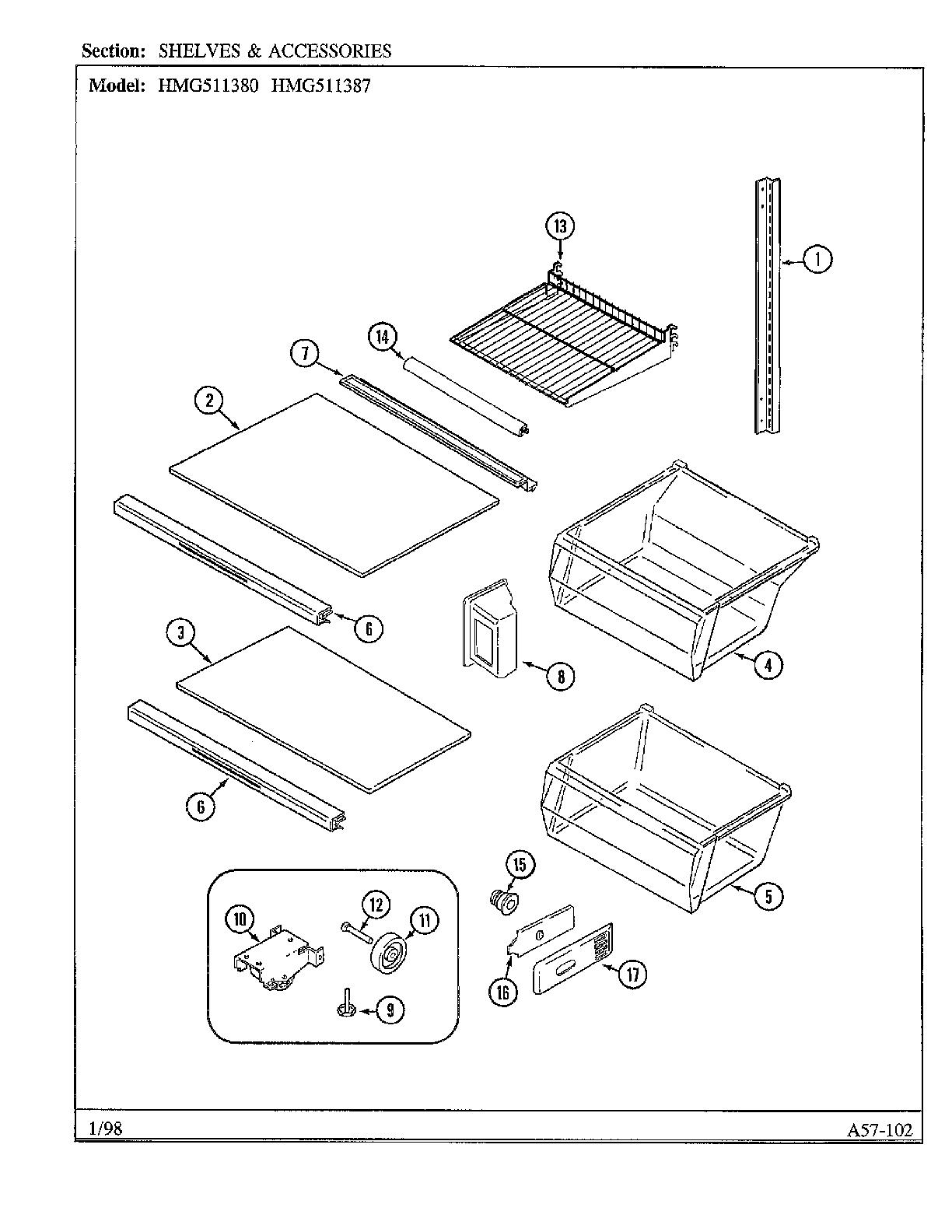Admiral model HMG511380 side-by-side refrigerator genuine
