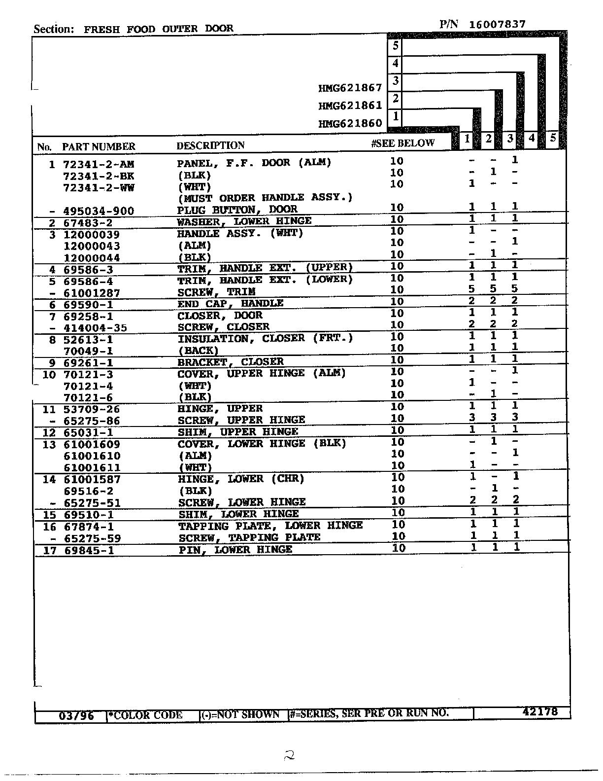 Admiral model HMG621860 side-by-side refrigerator genuine
