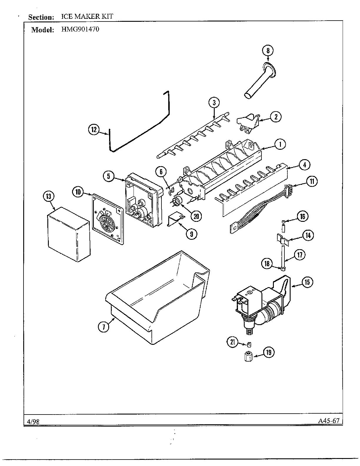 Admiral model HMG901470 ice maker kits genuine parts