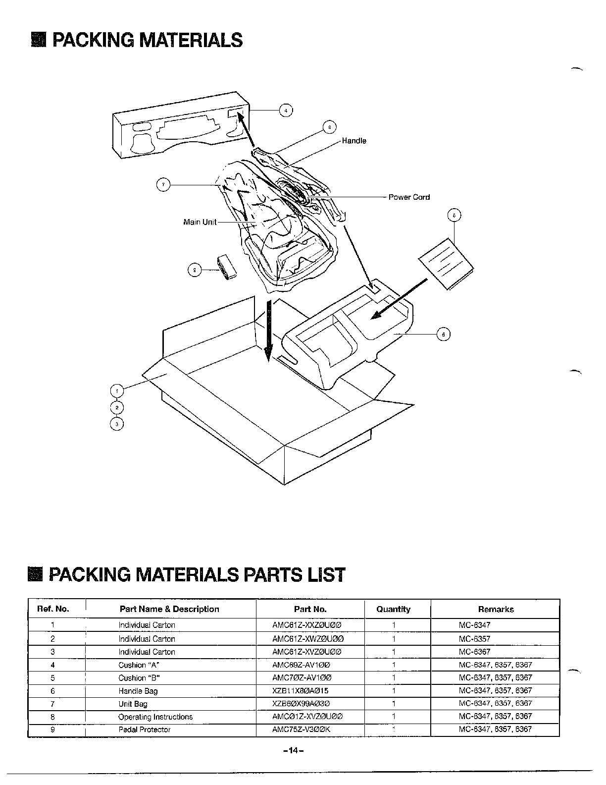 Panasonic model MC-6347 vacuum, upright genuine parts