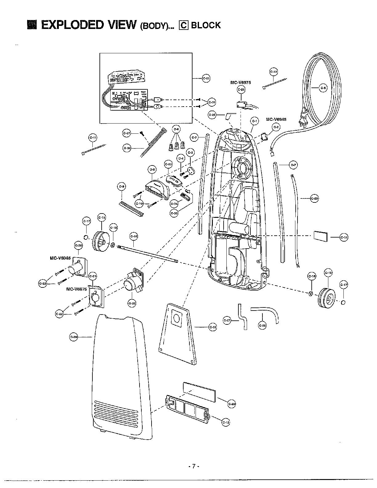 Panasonic model MC-V6945 vacuum, upright genuine parts