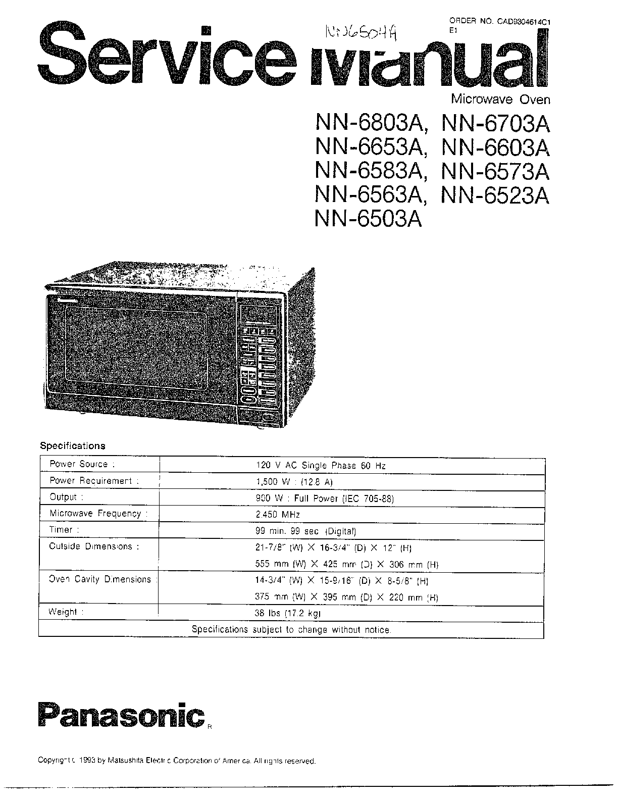 Panasonic model NN6523A countertop microwave genuine parts
