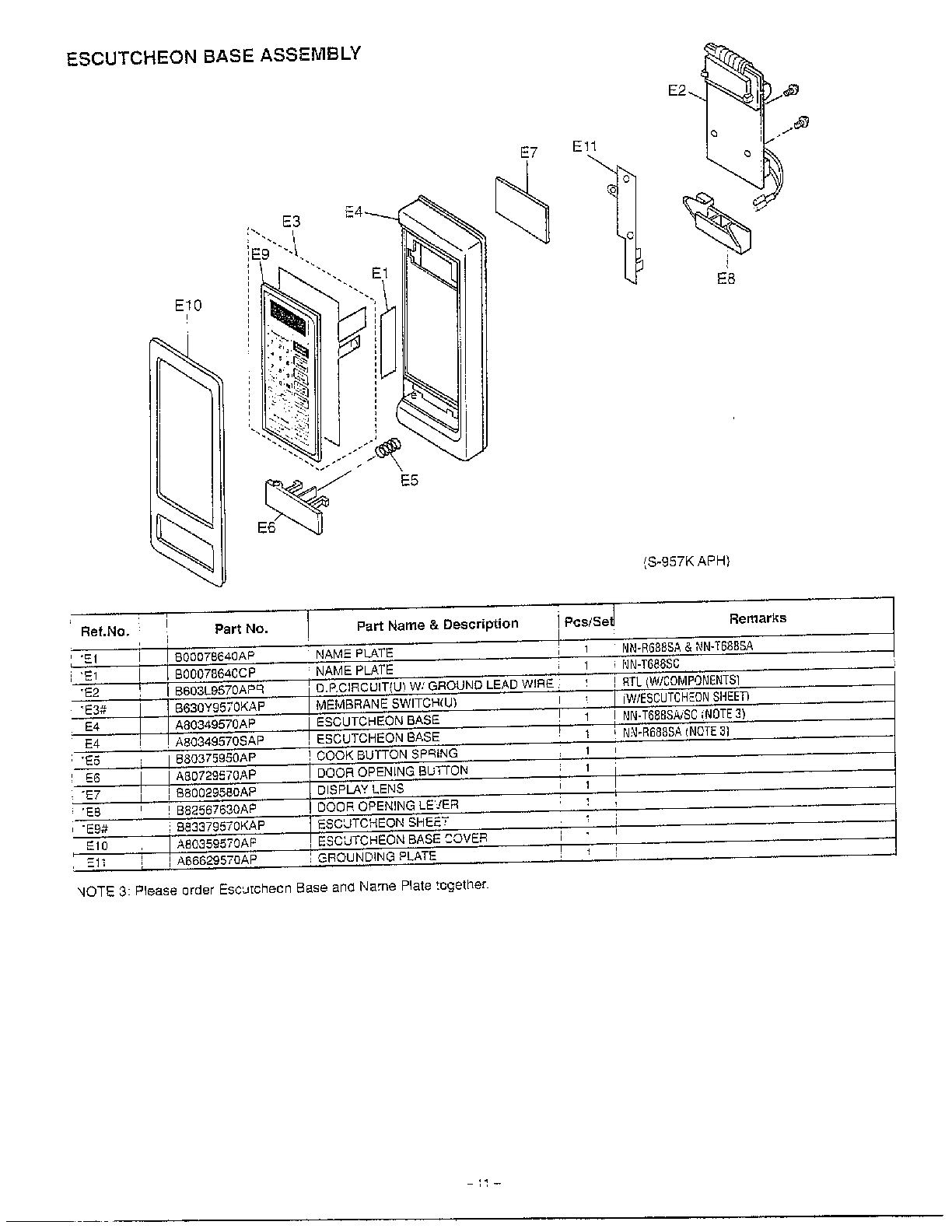 Panasonic model NN-T688SC countertop microwave genuine parts