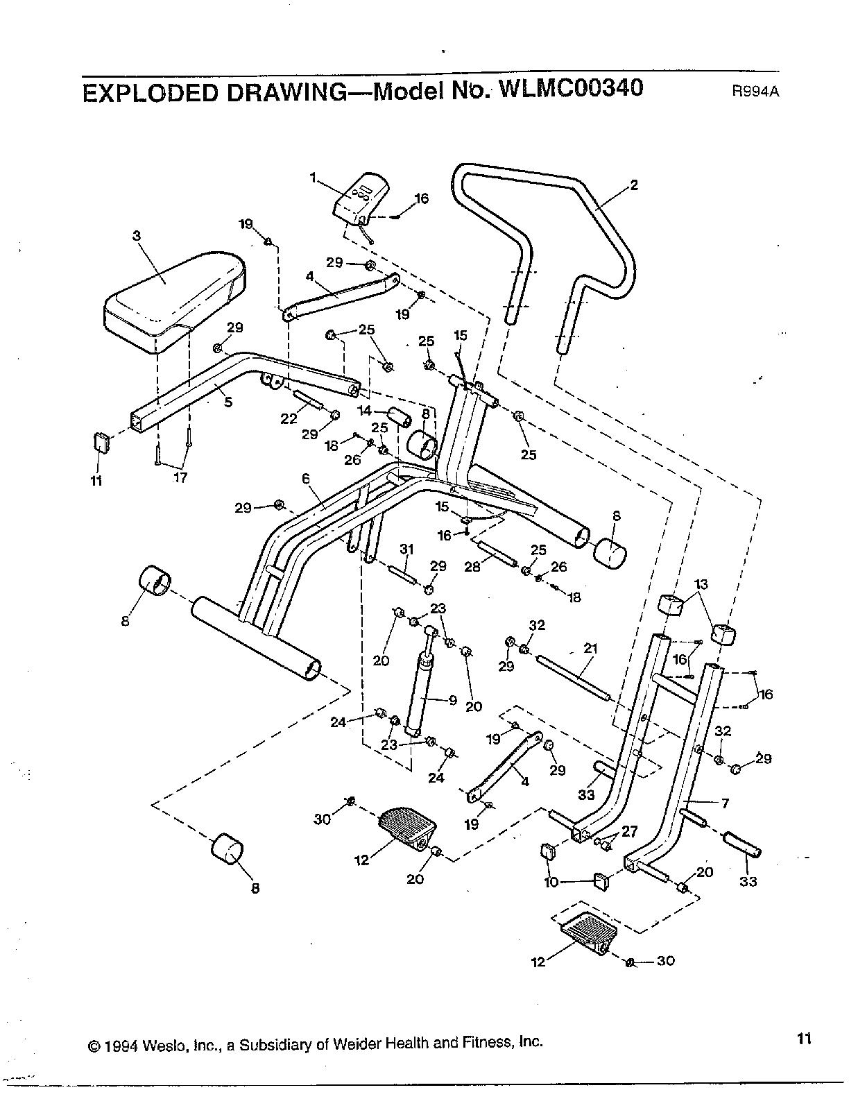 Weslo model WLML00340 misc exercise genuine parts