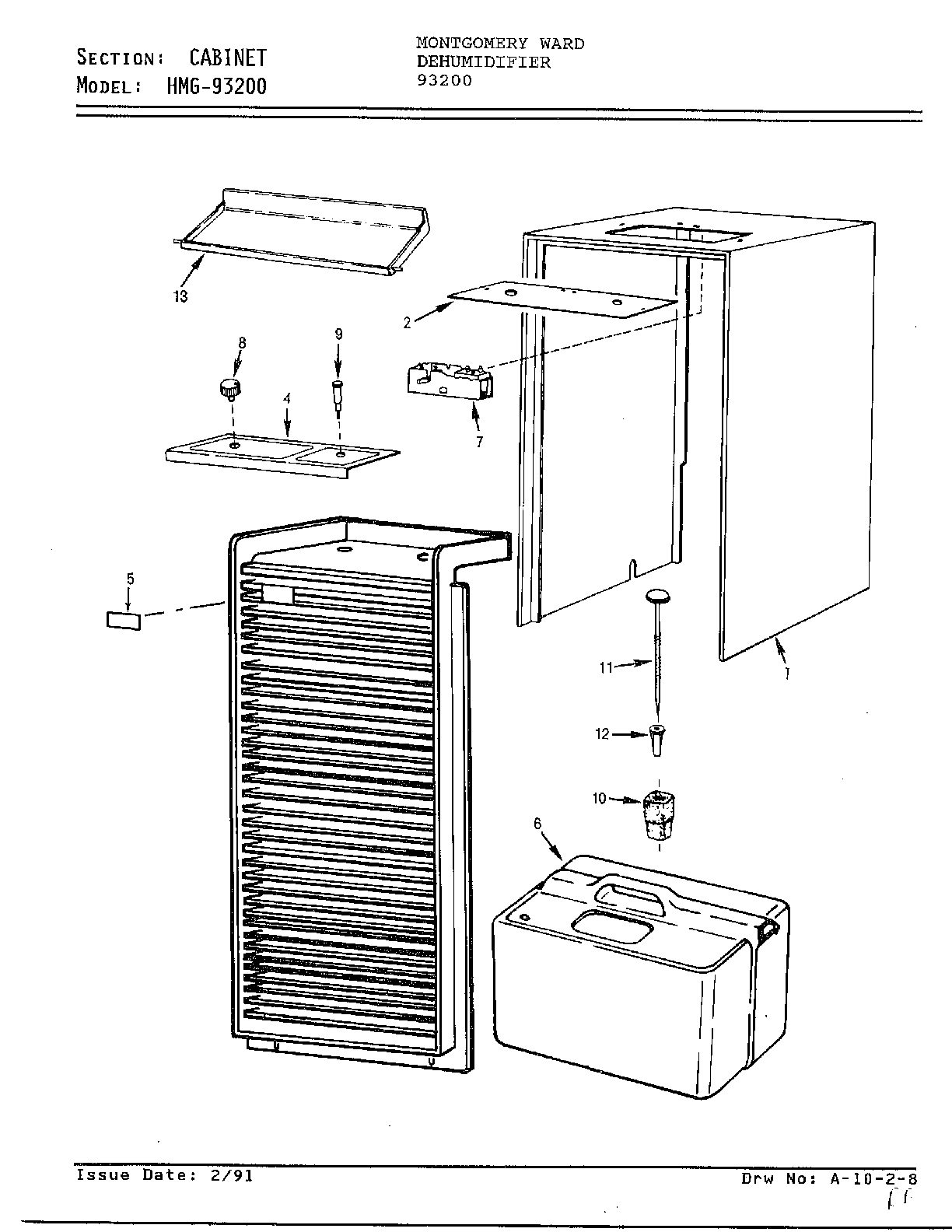 Admiral model 93200 dehumidifier genuine parts