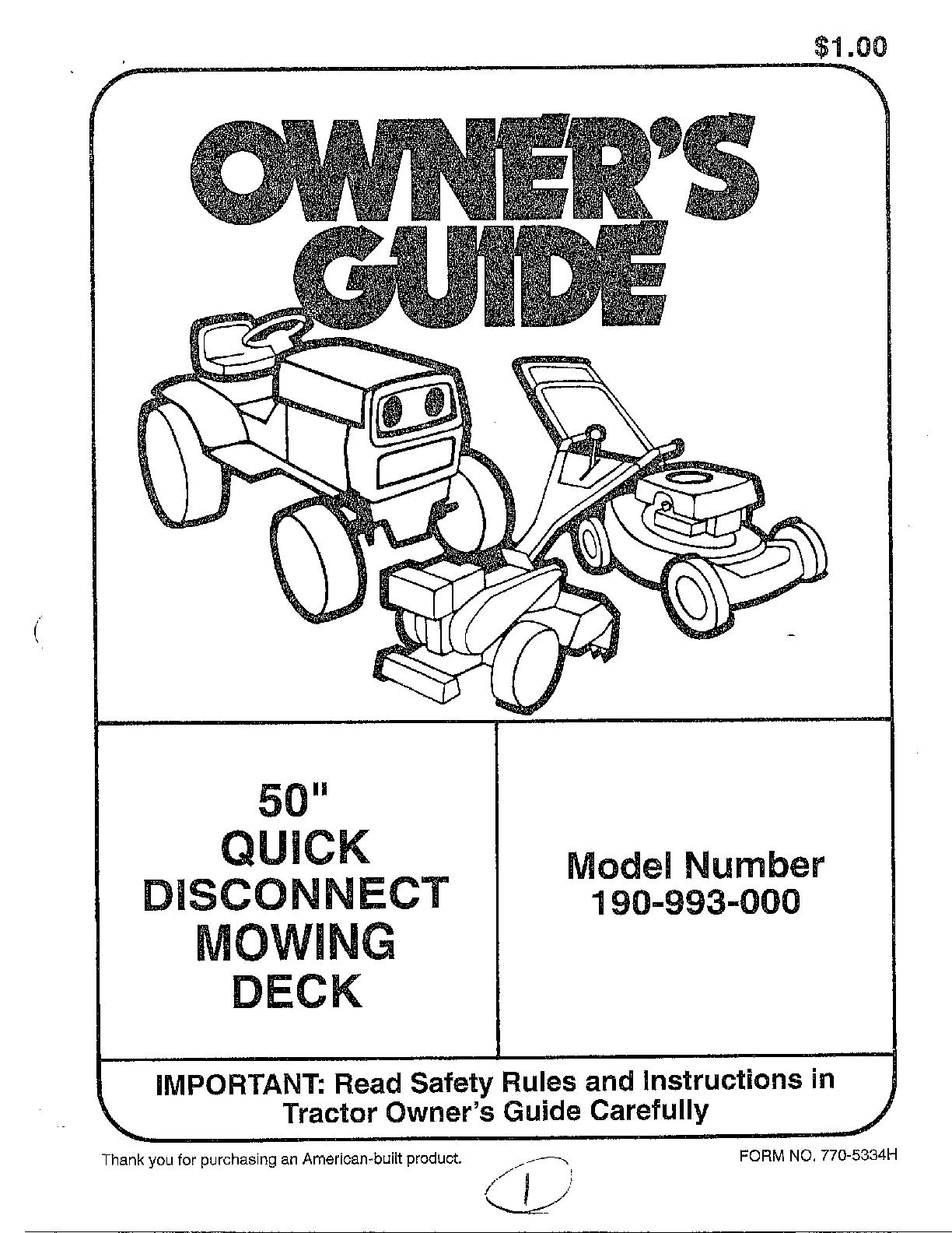 Mtd model 190-993-000 mower deck genuine parts