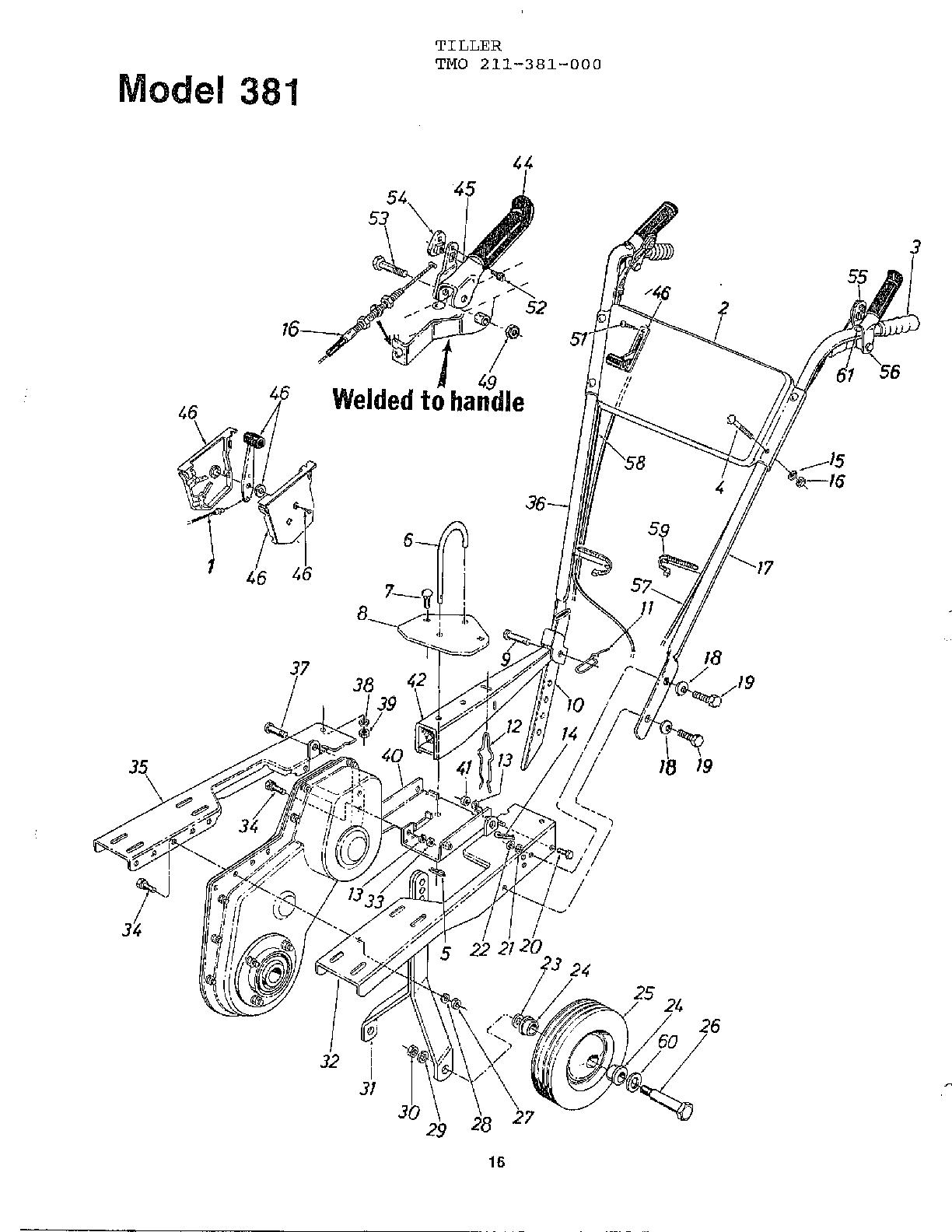 Mtd model 211-381-000 rear tine, gas tiller genuine parts