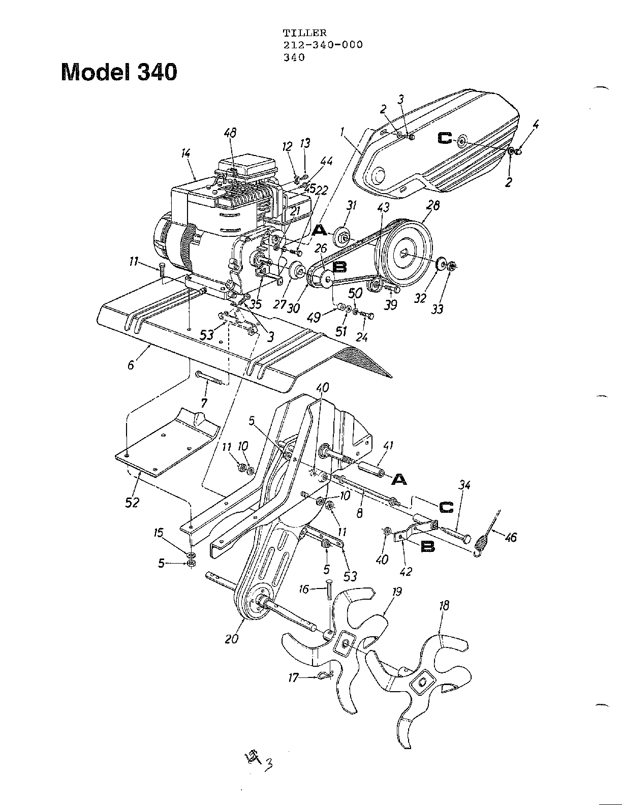 Mtd model 212-340-000 rear tine, gas tiller genuine parts