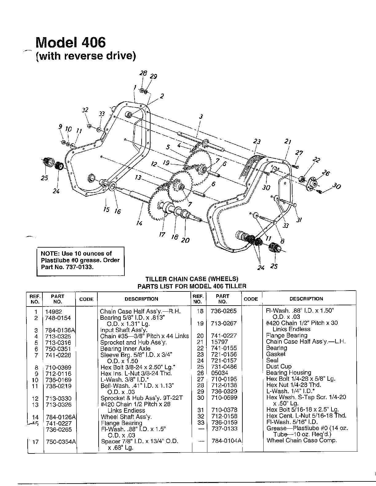 Mtd model 212-406-000 rear tine, gas tiller genuine parts