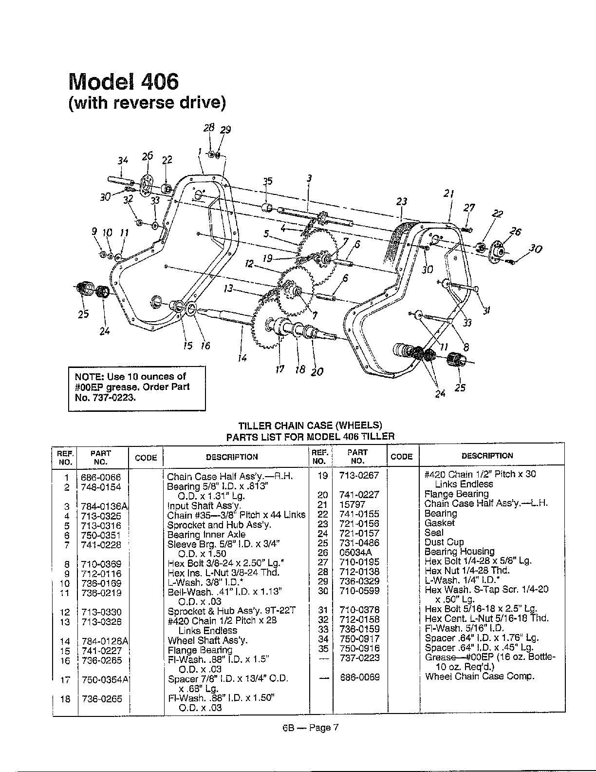 Mtd model 215-410-000 rear tine, gas tiller genuine parts
