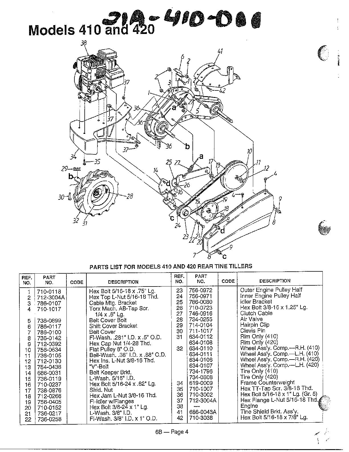 Mtd model 21A-410-000 rear tine, gas tiller genuine parts
