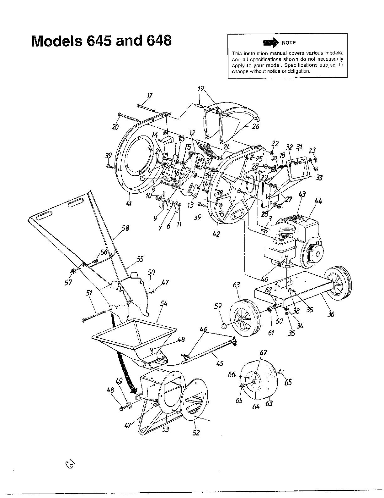 Mtd model 242A645-000 chipper shredder/vacuum, gas genuine