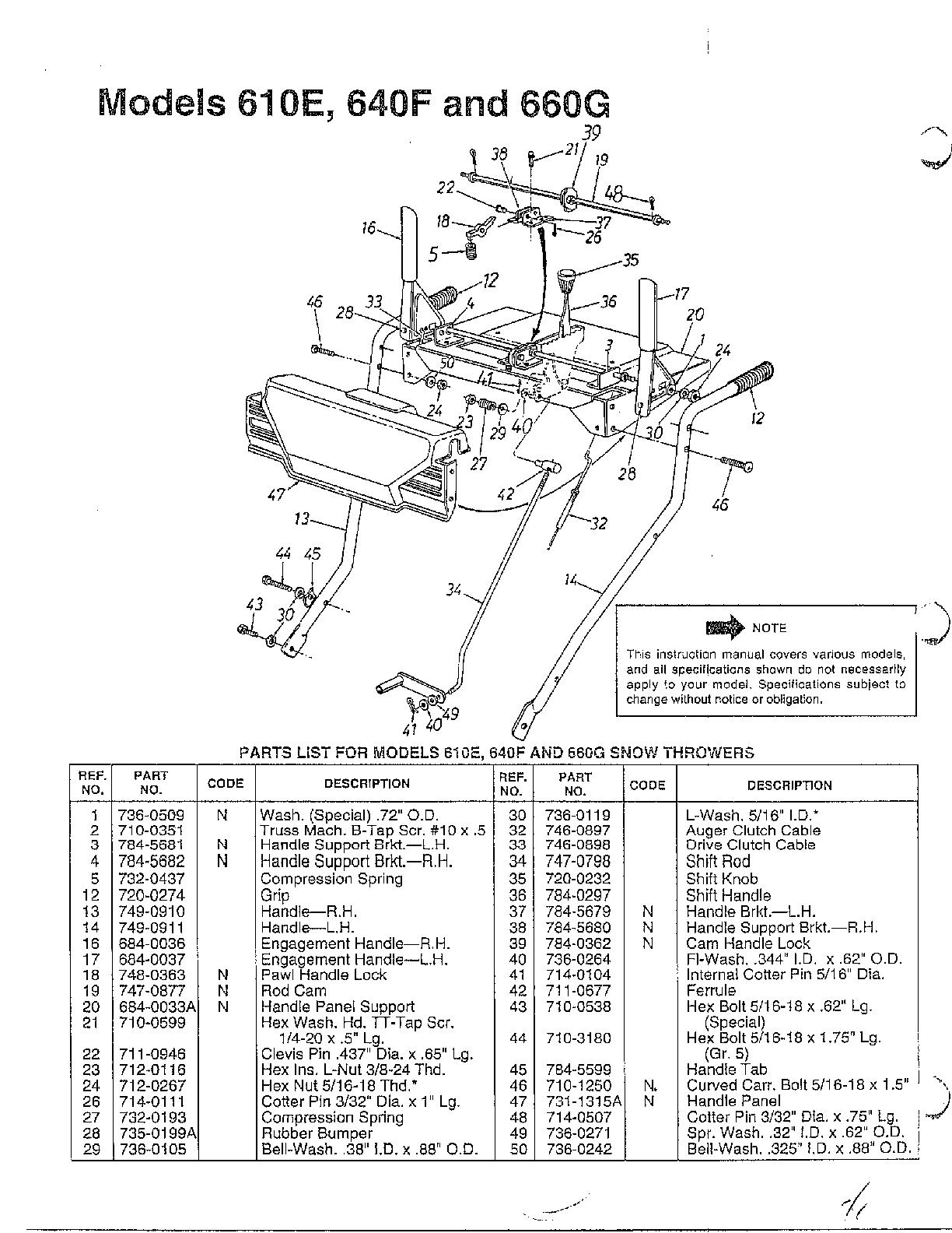 Mtd model 313-610E000 snowthrower, gas genuine parts
