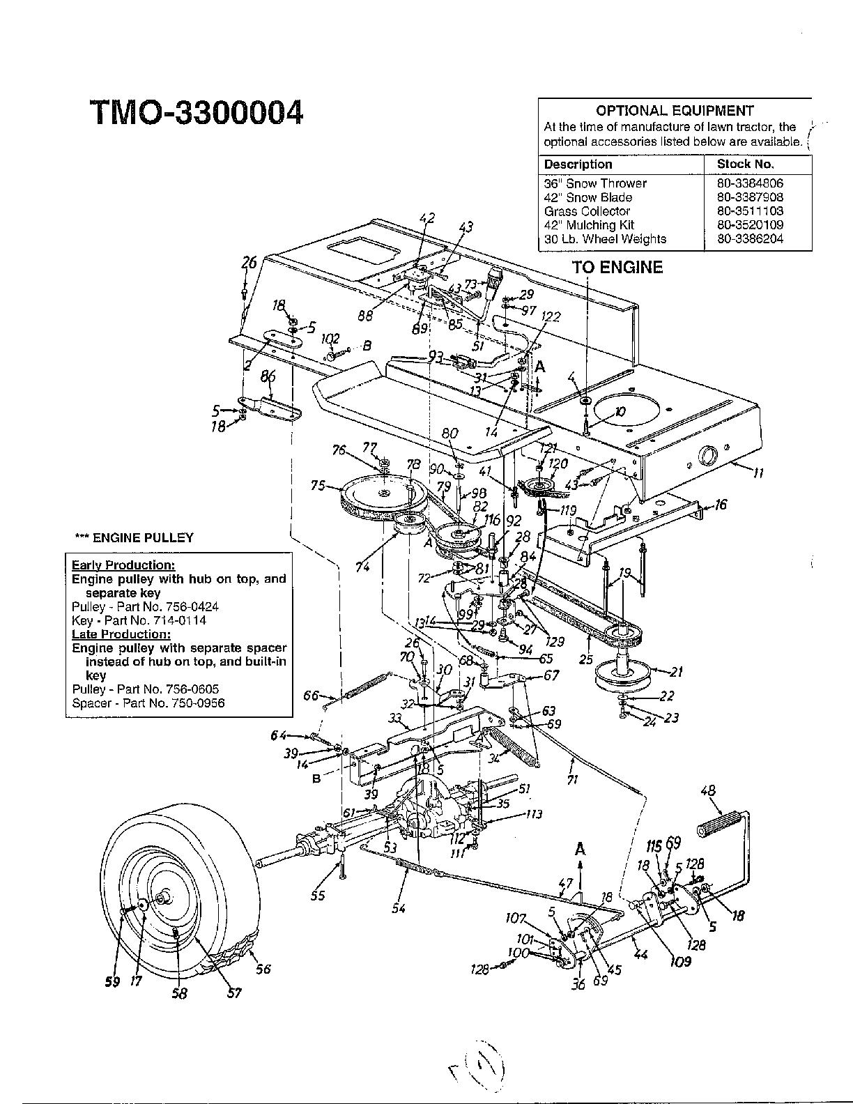 Mtd model 3300004 lawn, tractor genuine parts