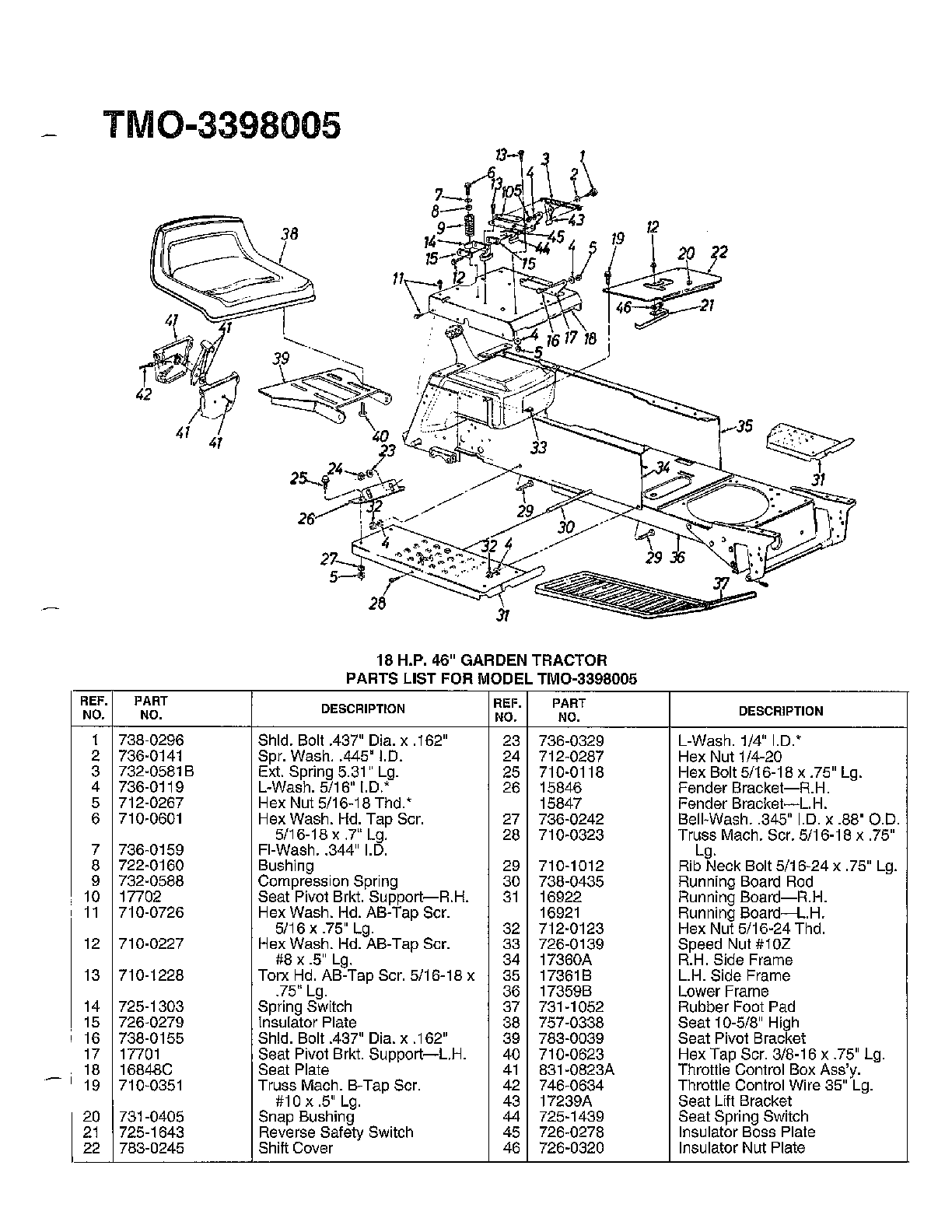 Mtd model 3398005 lawn, tractor genuine parts