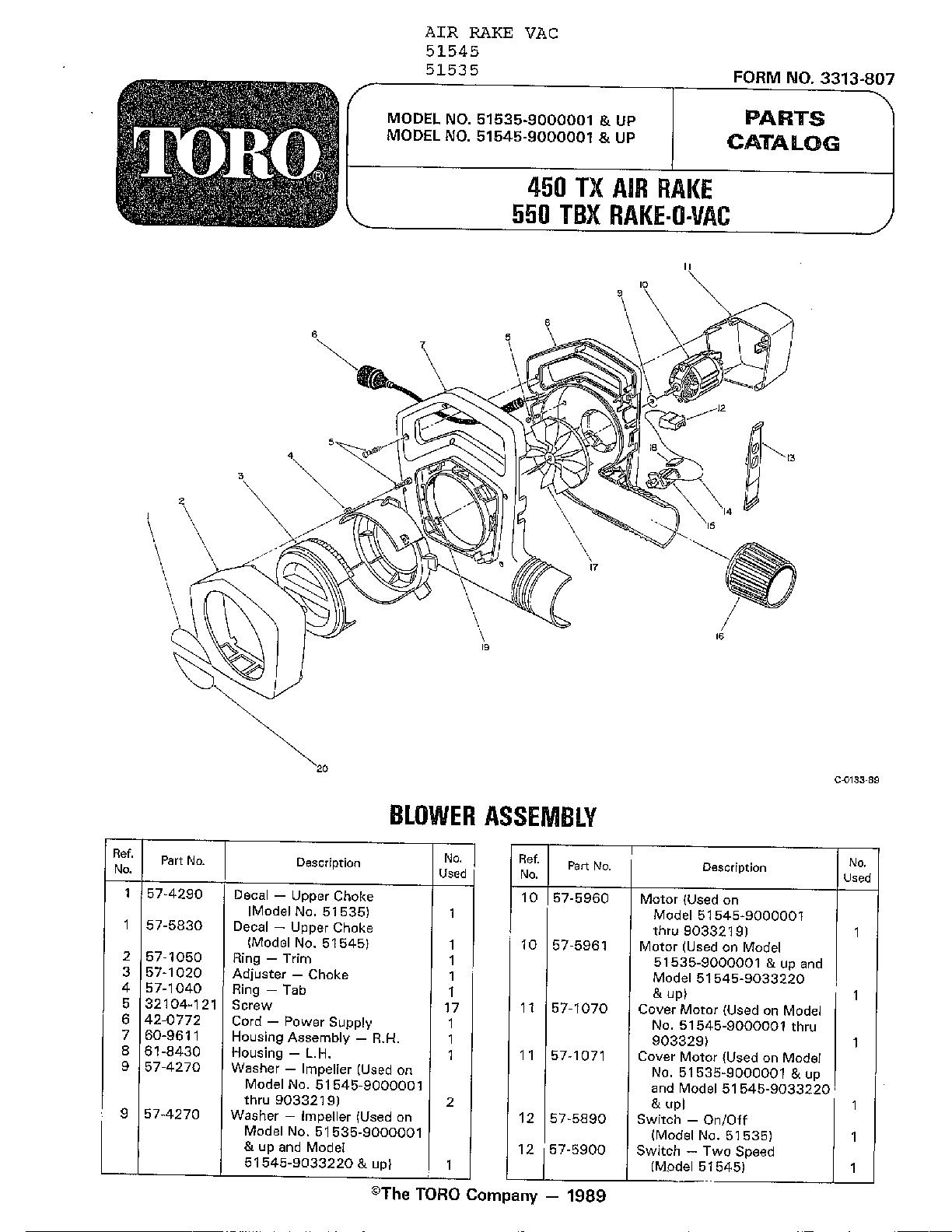 Toro model 51535 blower, electric genuine parts