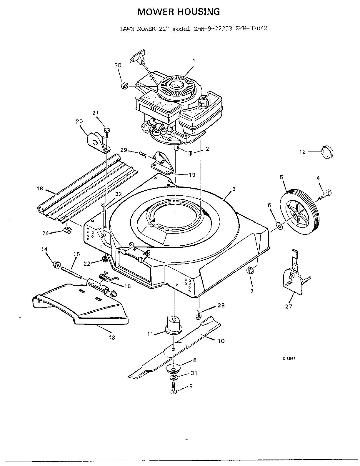 Murray model 9-22253 walk behind lawnmower, gas genuine parts