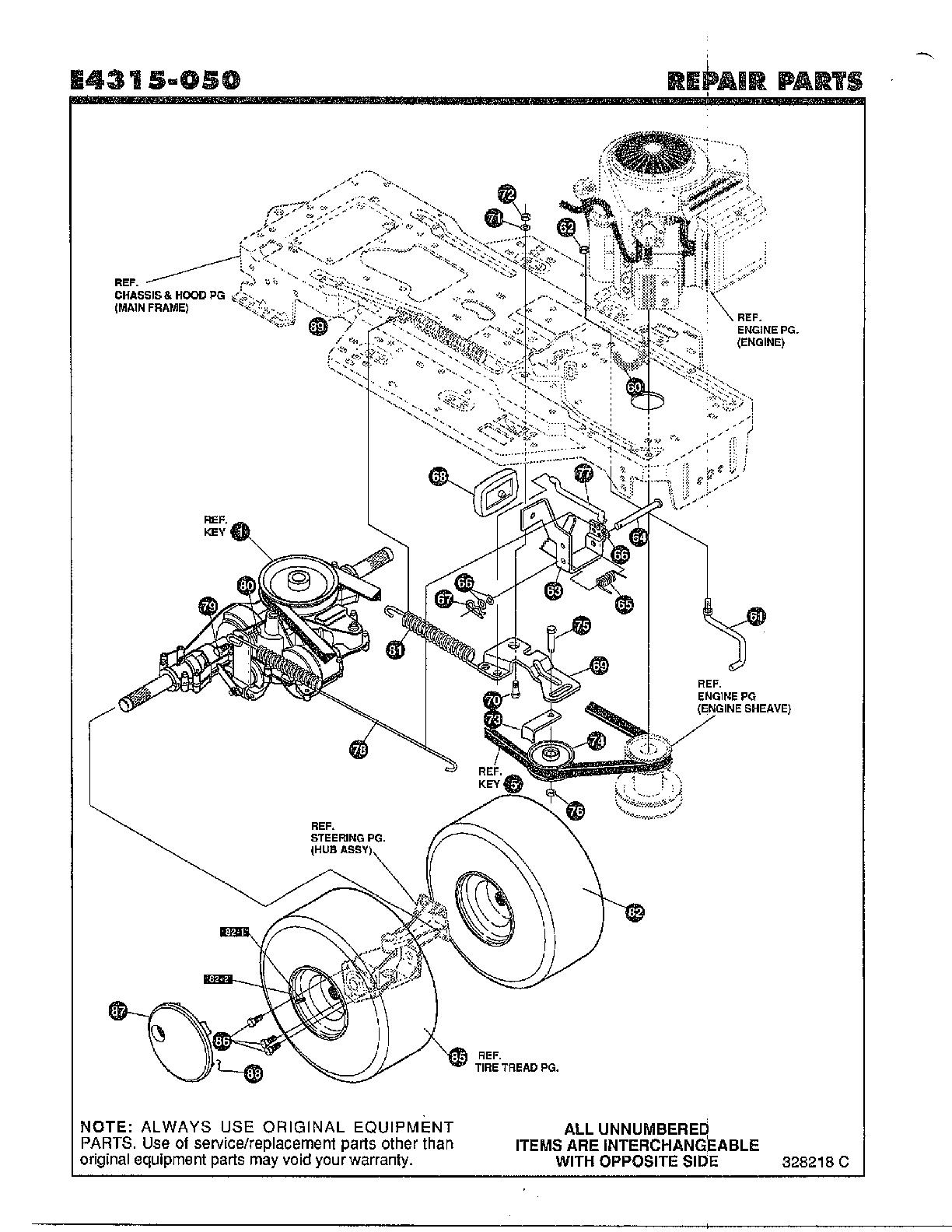 Noma model E4315-050 lawn, tractor genuine parts
