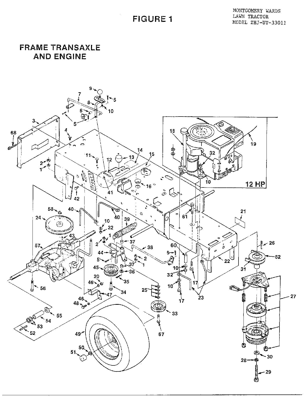 Homelite model UT33011 lawn, tractor genuine parts