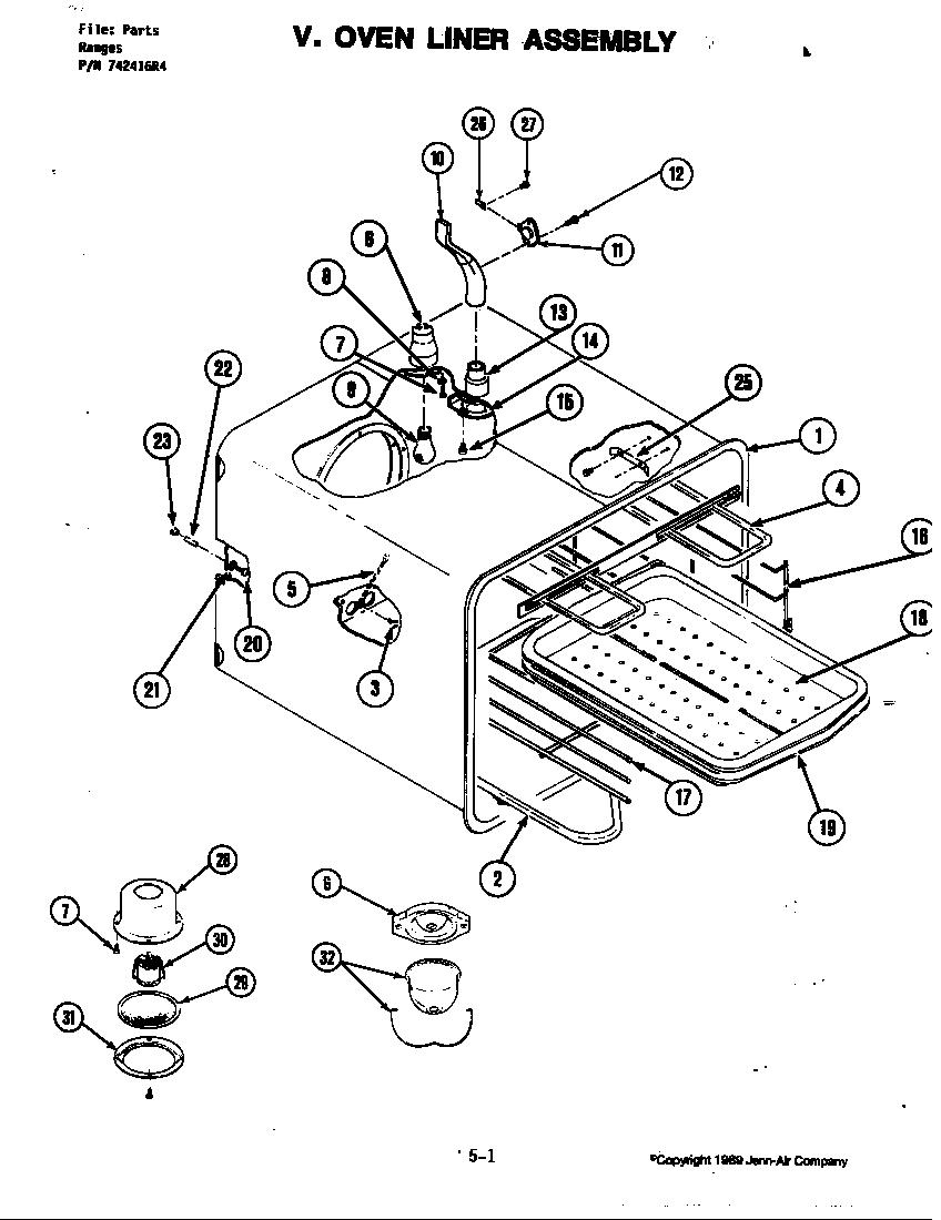 Jenn-Air model S160 slide-in range, electric genuine parts