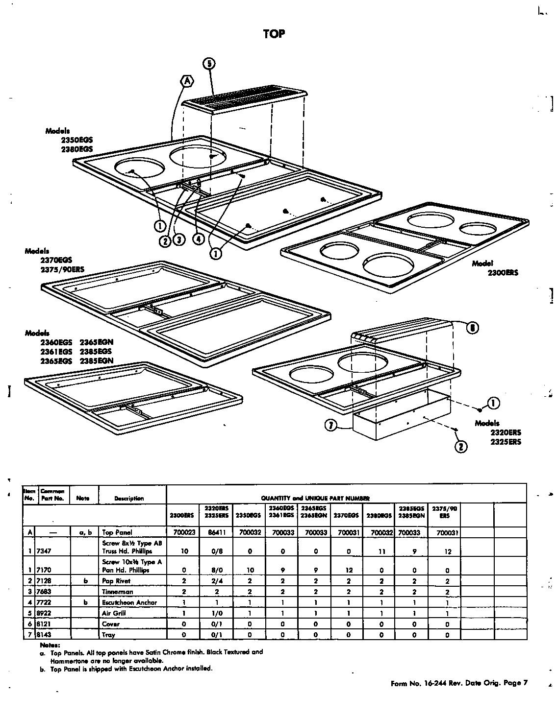 Jenn-air model 2300ERS ranges, electric genuine parts