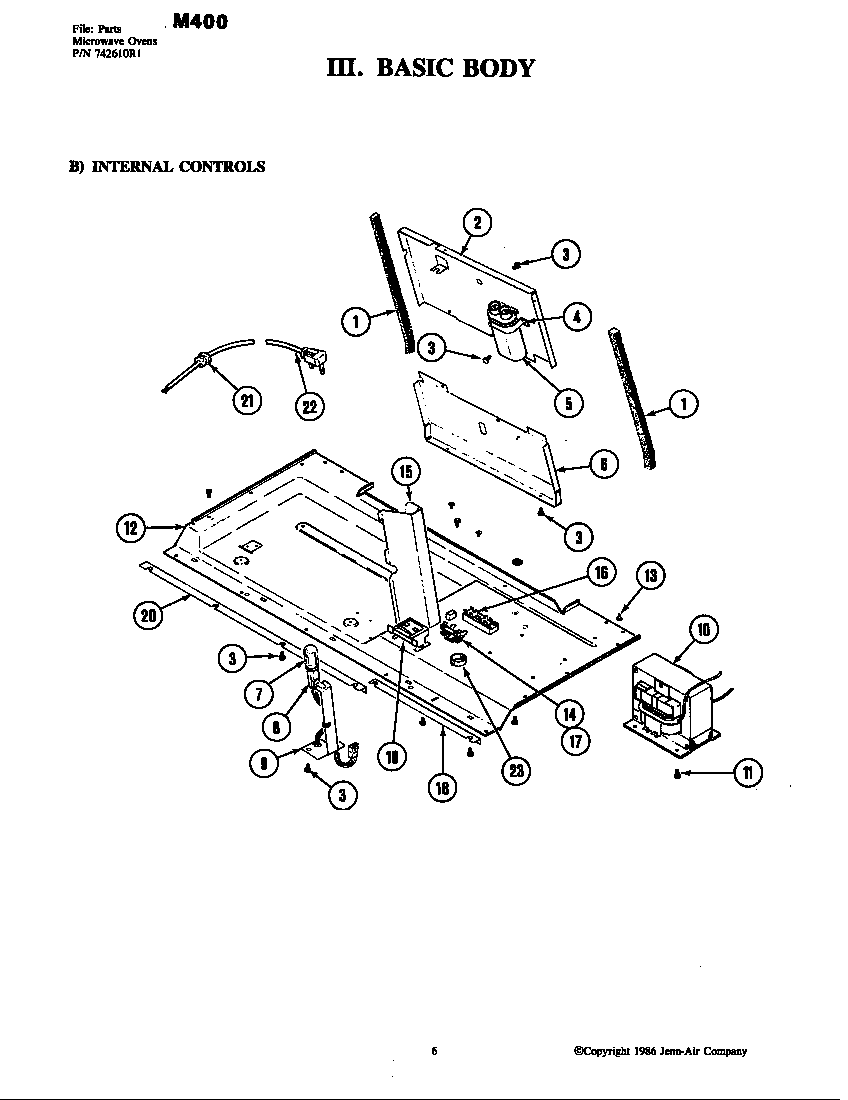 Jenn-Air model M400 countertop microwave genuine parts