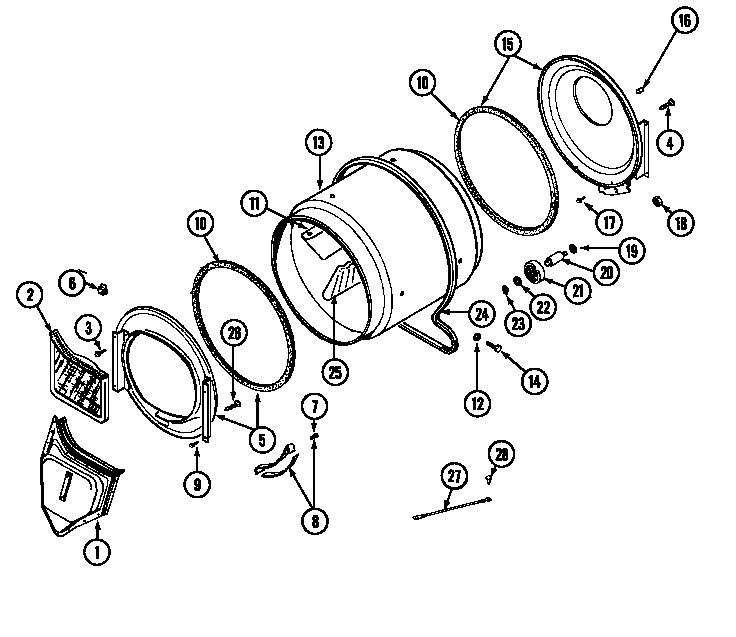 Maytag model LDG7304AAE residential dryer genuine parts