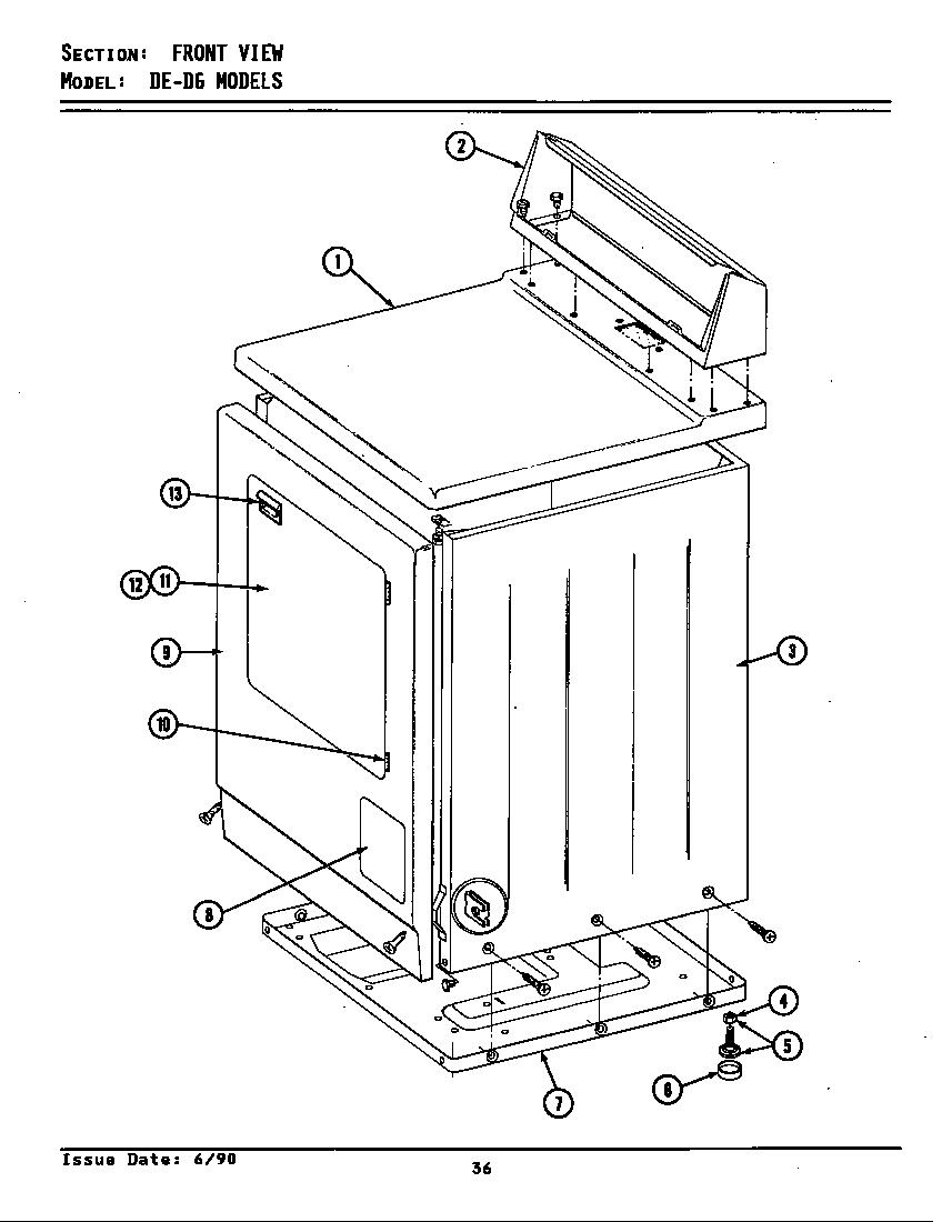 Maytag model DG8000 residential dryer genuine parts