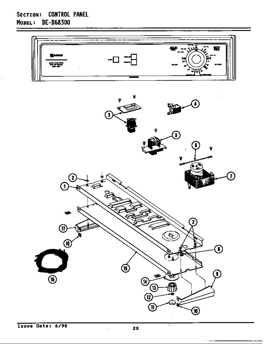 Maytag model DE8300 residential dryer genuine parts