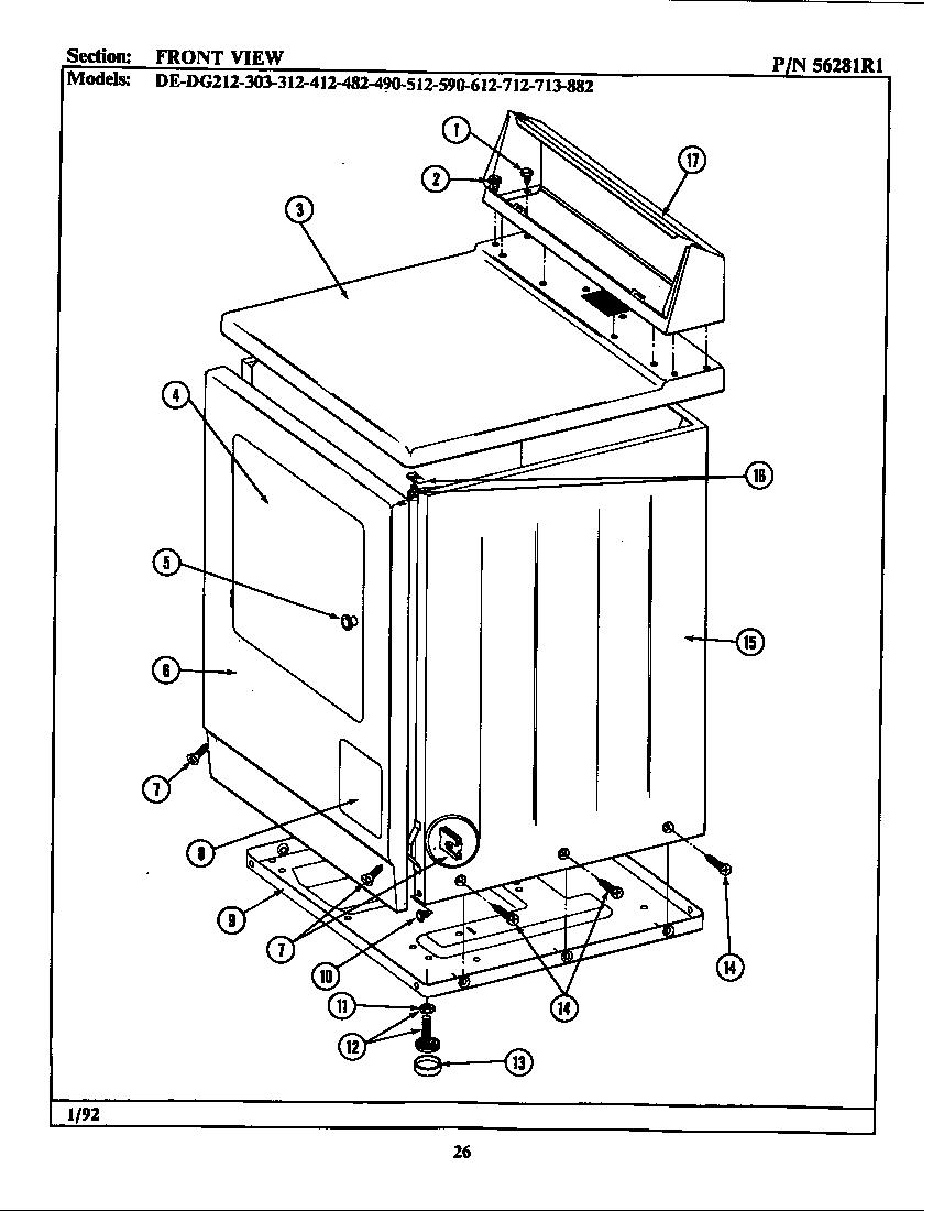 Maytag model DE312 residential dryer genuine parts