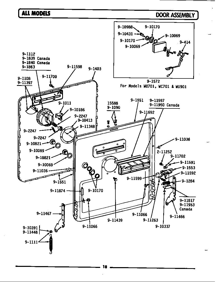 Maytag model WU301 dishwasher genuine parts