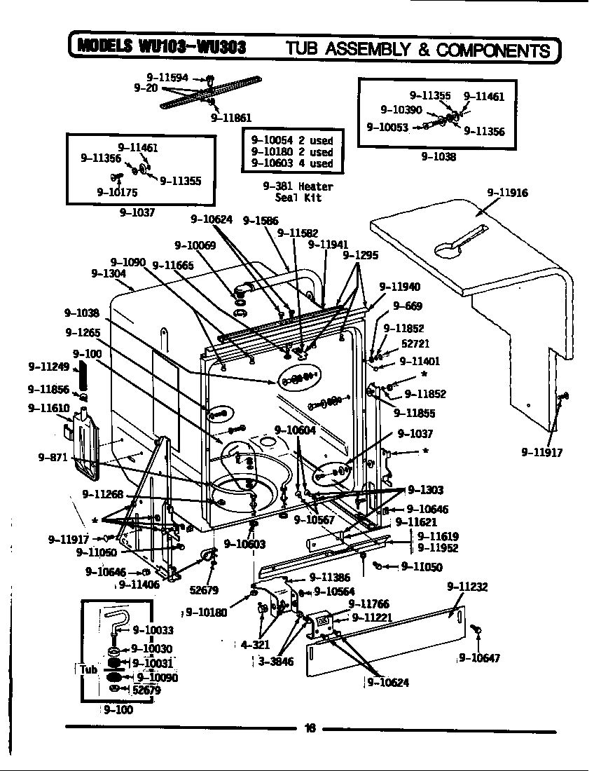 Maytag model WU303 dishwasher genuine parts