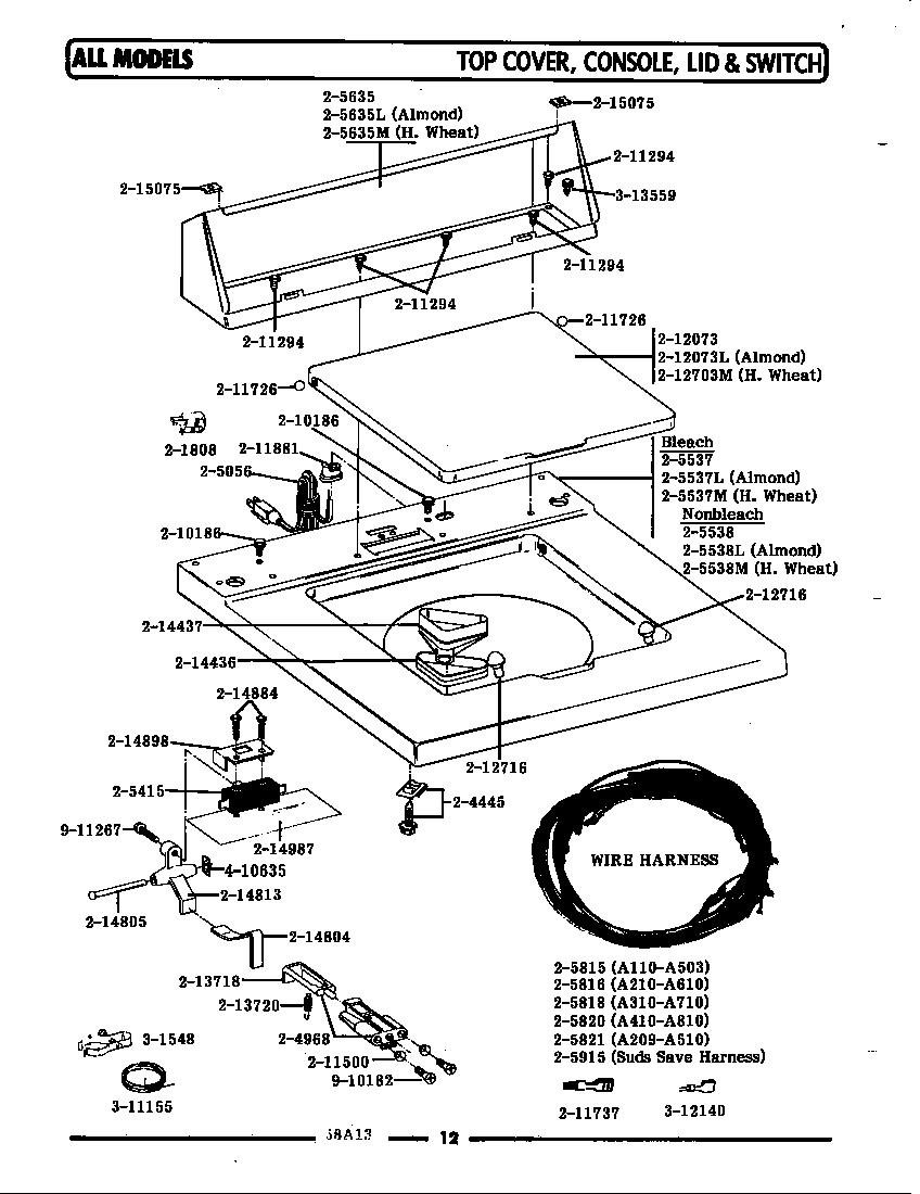 Maytag model LA510 washers genuine parts