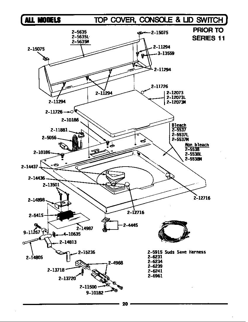 Maytag model LA412 washers genuine parts