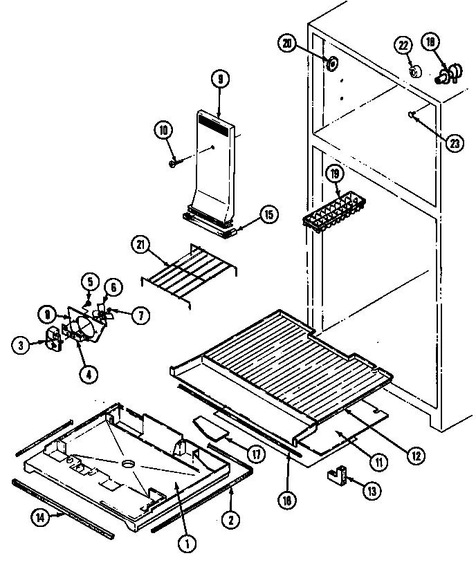 Magic-Chef model RB170PW/DG25C top-mount refrigerator