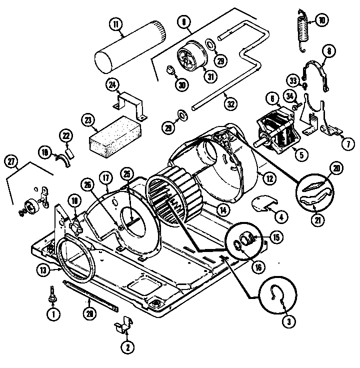 Magic-Chef model YG20JN2 residential dryer genuine parts