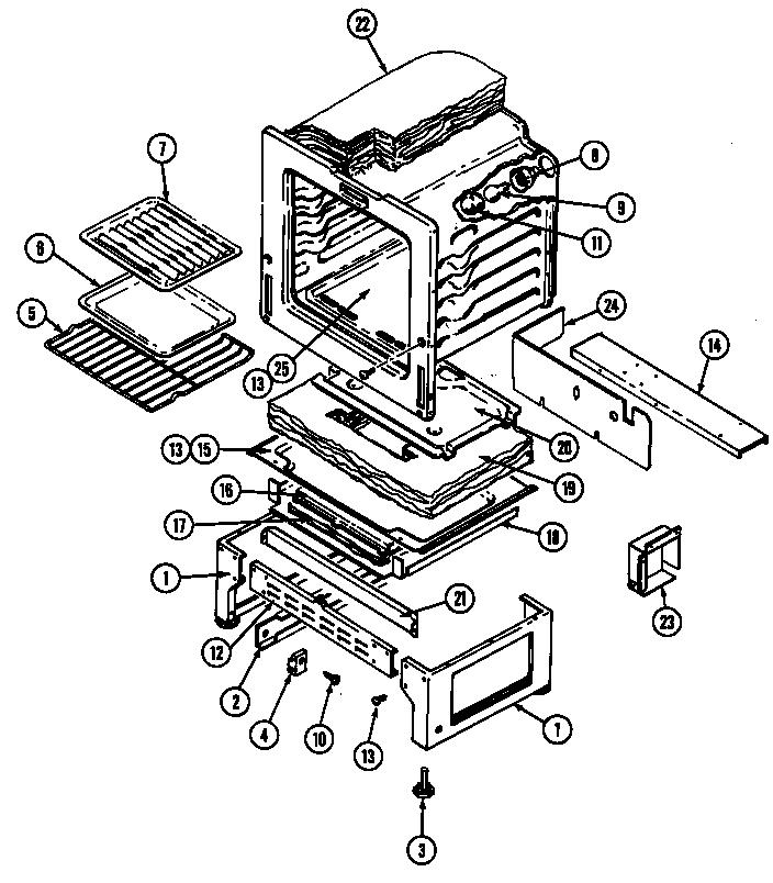 Magic-Chef model 3488XRB range (gas) genuine parts