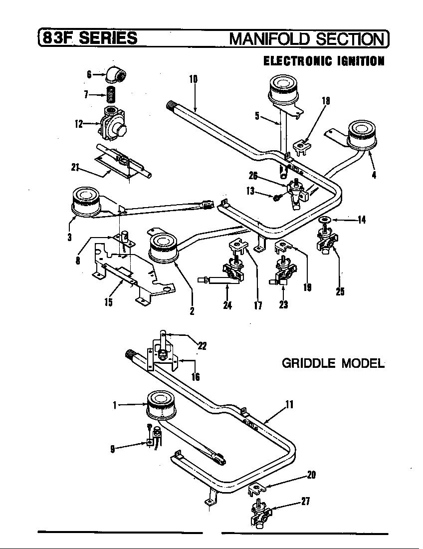 Magic-Chef model 83FS-1GK range (gas) genuine parts