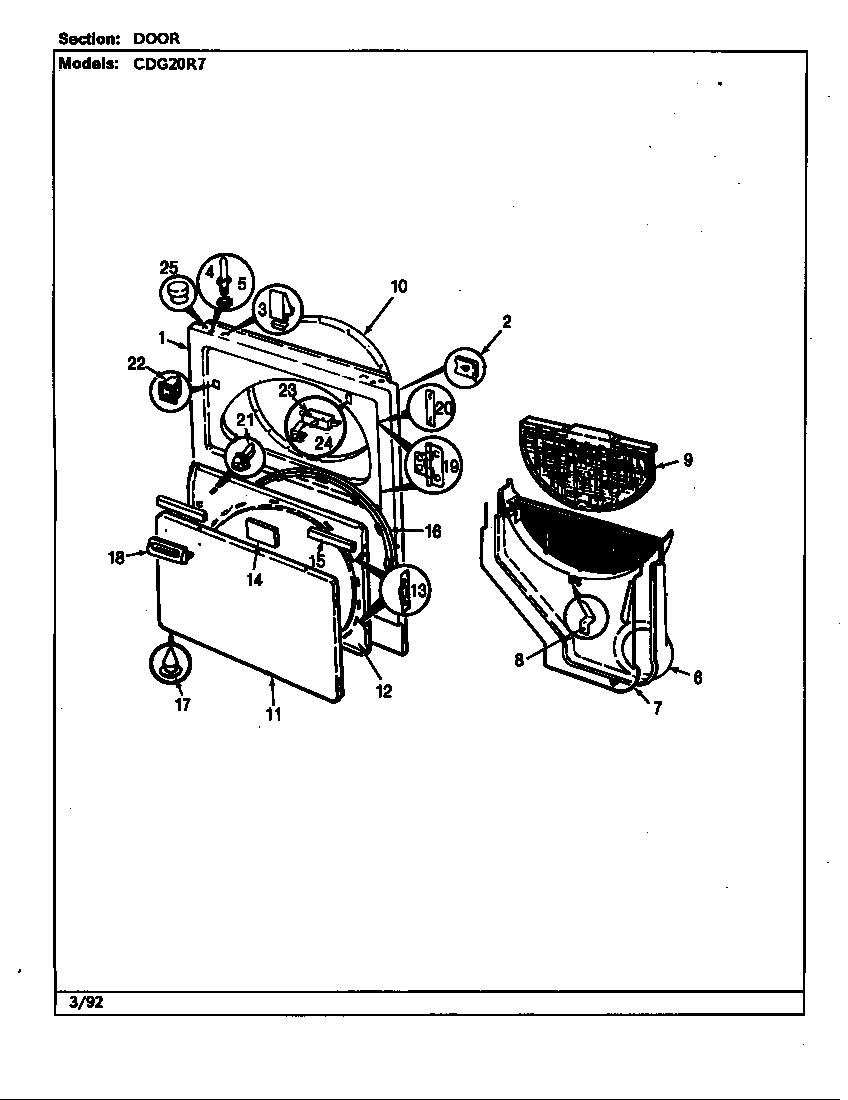 Crosley model CDG20R7W residential dryer genuine parts