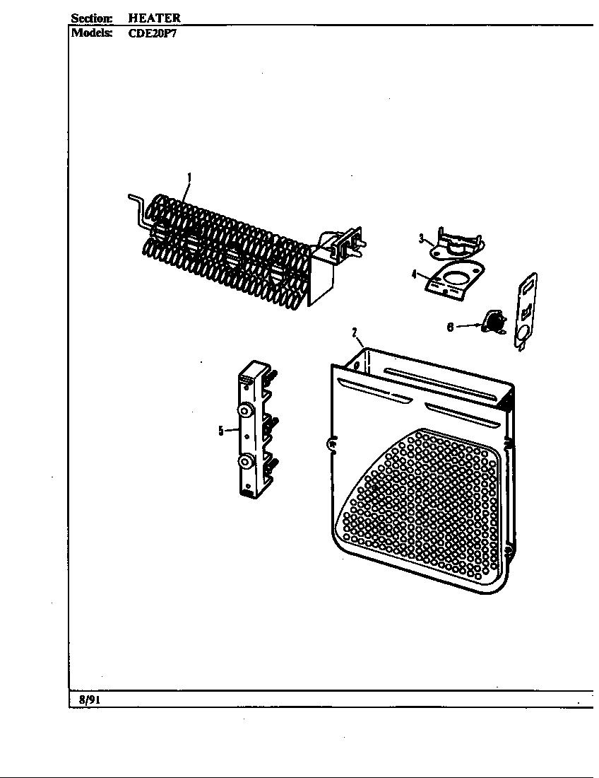 Crosley model CDE20P7W residential dryer genuine parts