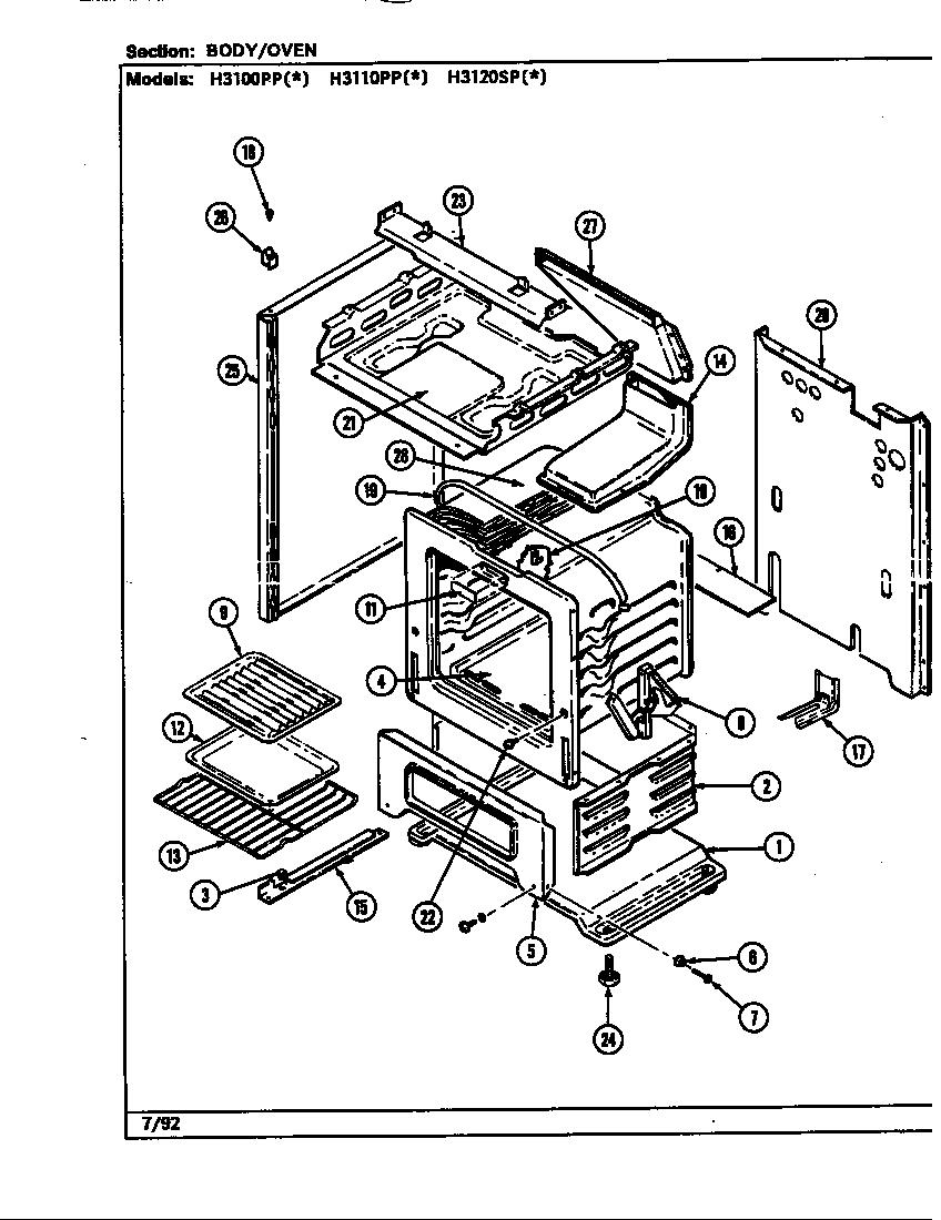 Hardwick model H3100PPW range (gas) genuine parts