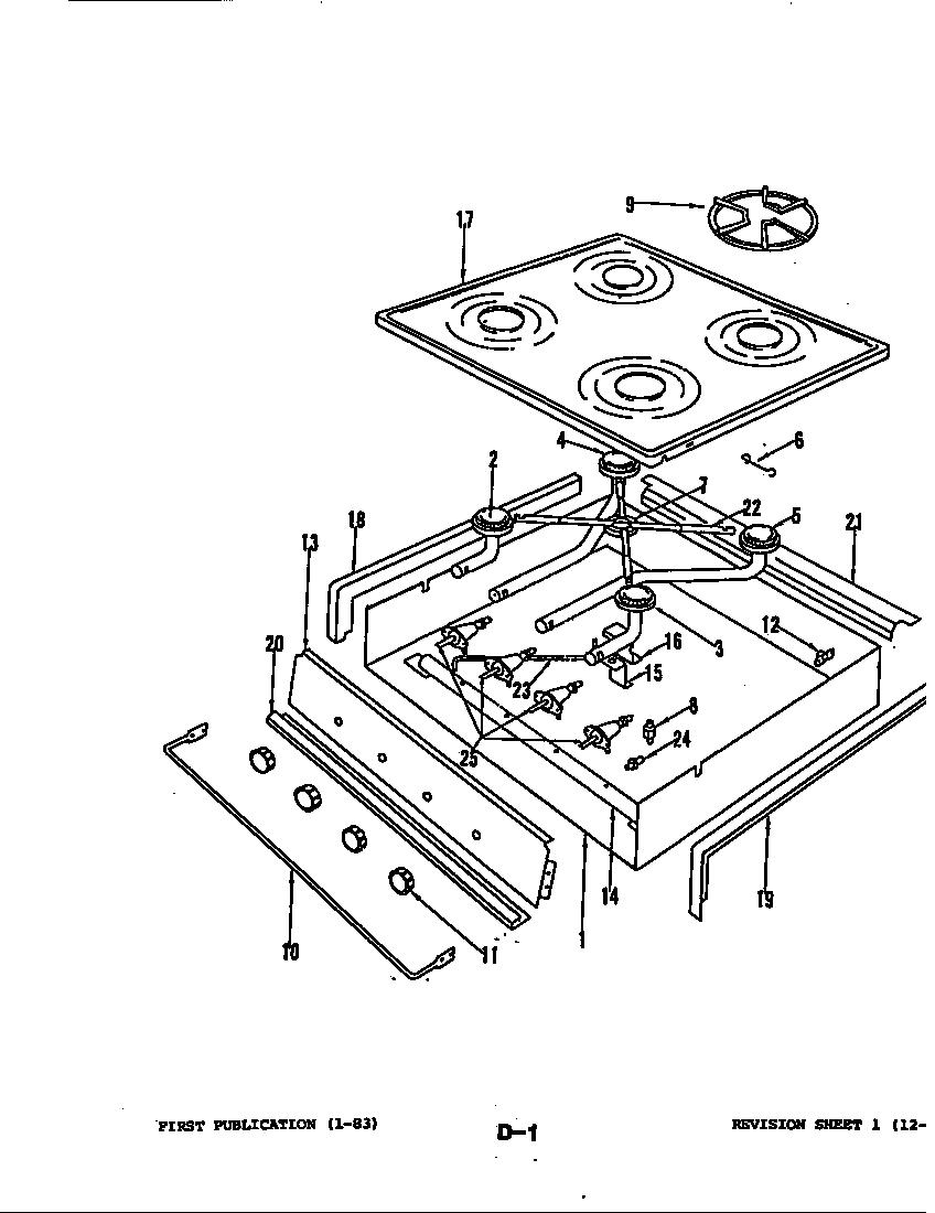 Magic-Chef model BT85LN-4S range sub assemblies genuine parts