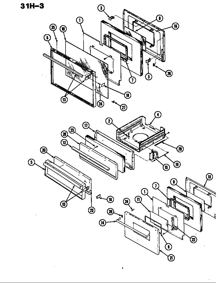 Magic-Chef model 31HK-3KX range (gas) genuine parts