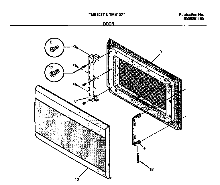 Tappan model TMS107T1B1 countertop microwave genuine parts
