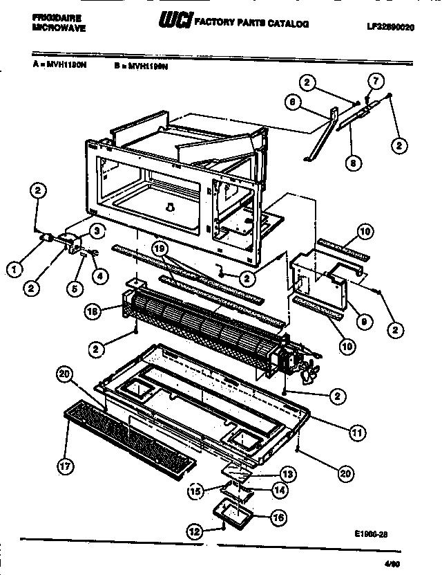 Frigidaire model MVH1199N microwave/hood combo genuine parts