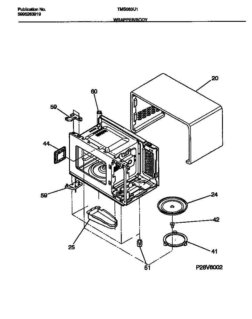 Tappan model TMS083U1S0 countertop microwave genuine parts