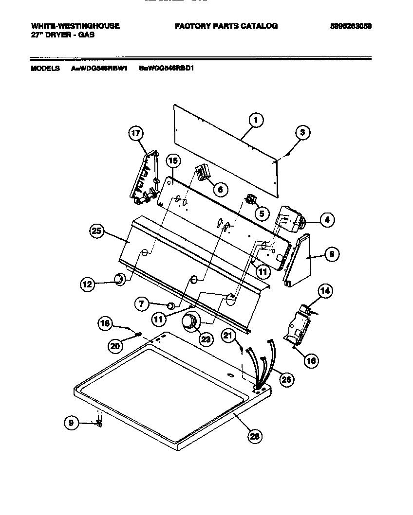 White-Westinghouse model WDG546RBW1 residential dryer