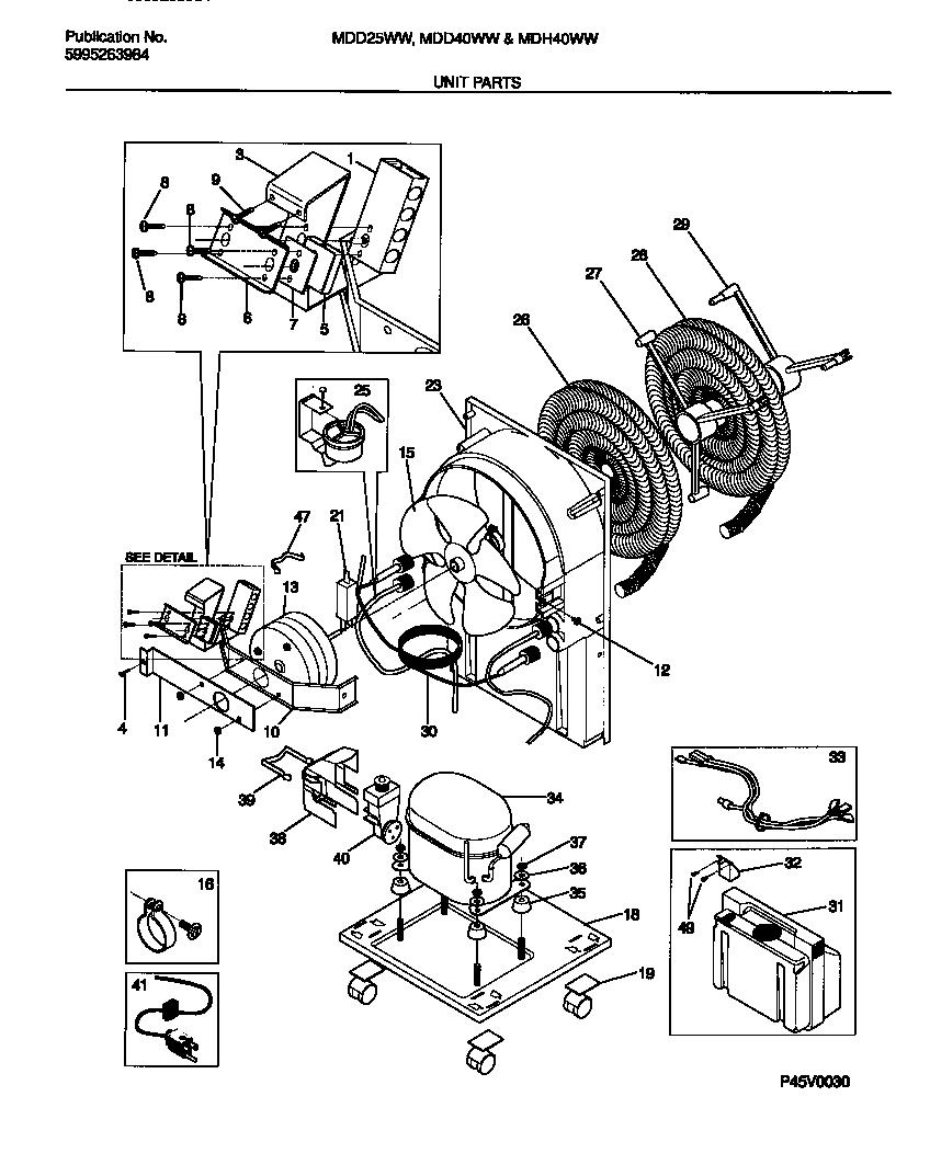 White-Westinghouse model MDD25WW1 dehumidifier genuine parts
