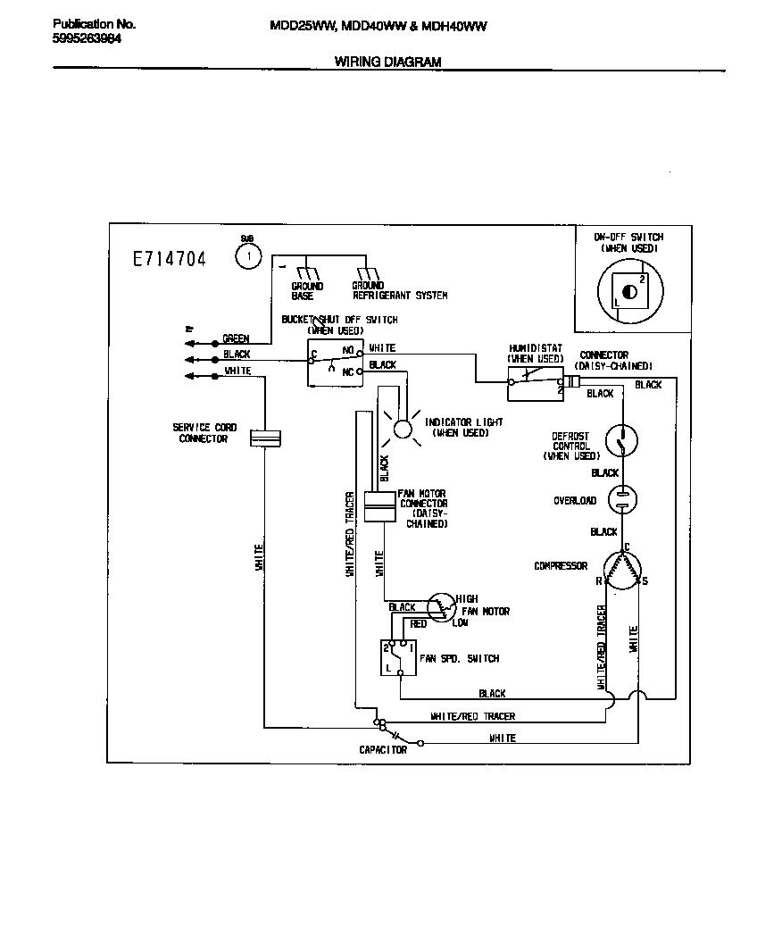 White-Westinghouse model MDH40WW2 dehumidifier genuine parts